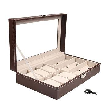 JUNMYEON Caja De Almacenamiento De Gafas,Caja para Relojes Aloja hasta 6 Relojes para Guardar
