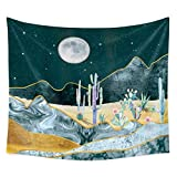 Staron Tapestry Wall Hanging Nature Cactus Tapestry Wall Hanging Moon and Cactus Plant Printed Tapestry Cactus Watercolor Tapestry (59 X 51.2 inch)