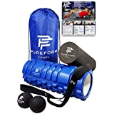 PUREFORM FITNESS Premium Foam Roller and Mobility Set for Muscle Therapy and Trigger Point Release with 1 Textured Roller (Blue), 1 Smooth Roller (Black), 1 Double Lacrosse Ball (Black), 1 Nylon Travel Bag (BLUE) and 1 Yoga Stretching Strap with Numbered Loops (BLACK)