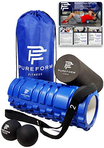 PUREFORM FITNESS Foam Roller Set and Free EBOOK! Muscle Therapy and Trigger Point Release with 1 Textured Roller, 1 Smooth Roller, 1 Double Lacrosse Ball, 1 Nylon Travel Bag and 1 Stretching Strap.
