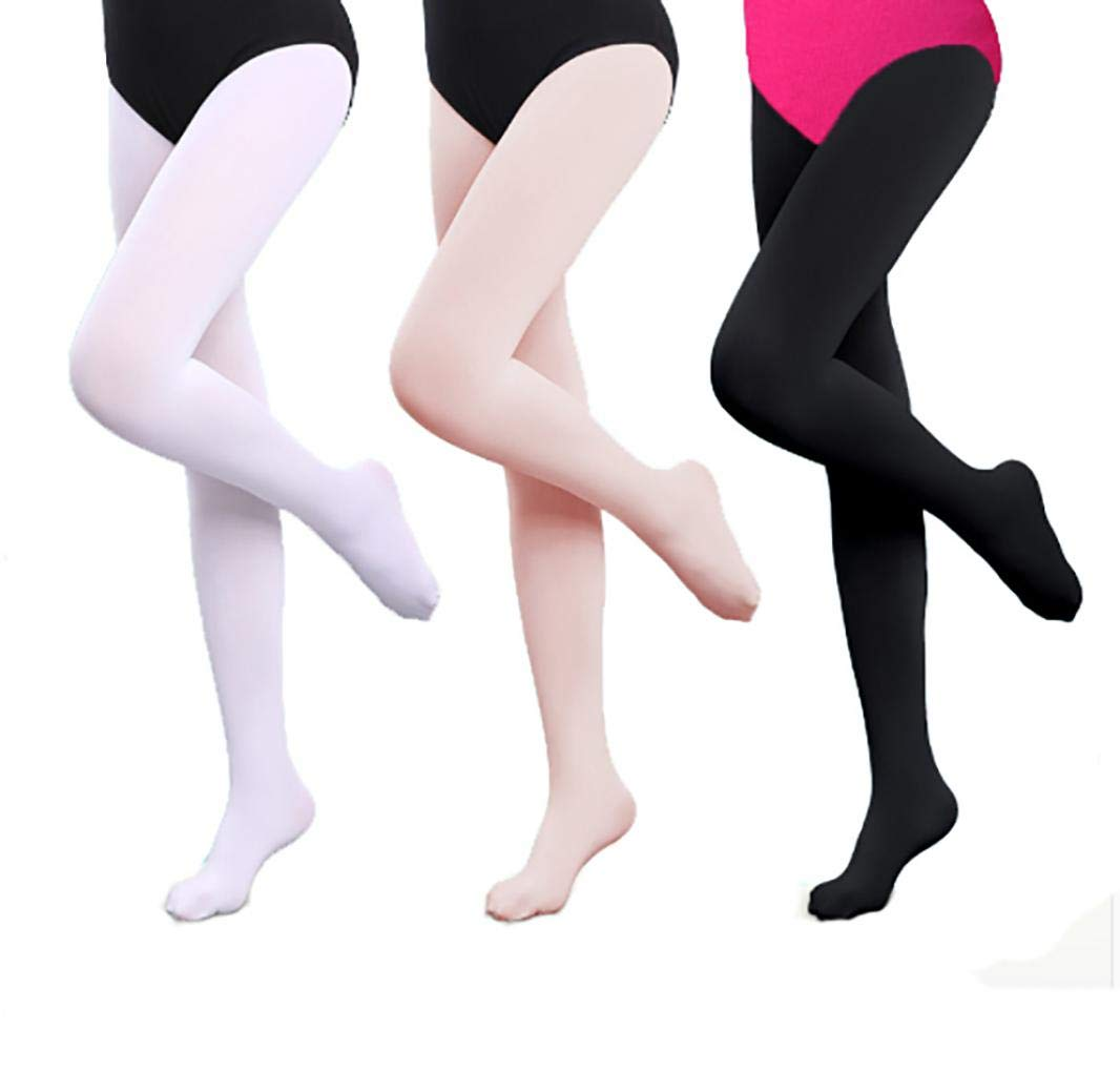 VOCHIC Girls Footed Dance Tights For Ballet Class Recital Opaque Tights Leggings Pack of 3