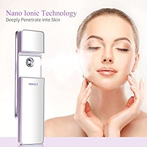 Portable Sliding Nano Facial Steamer Handy Mirror Moisture Ionic Cool Mist Sprayer Dry & Oil Skin Beauty Instrument Atomization Moisturizing and Hydrating Rechargeable Mister (violet)