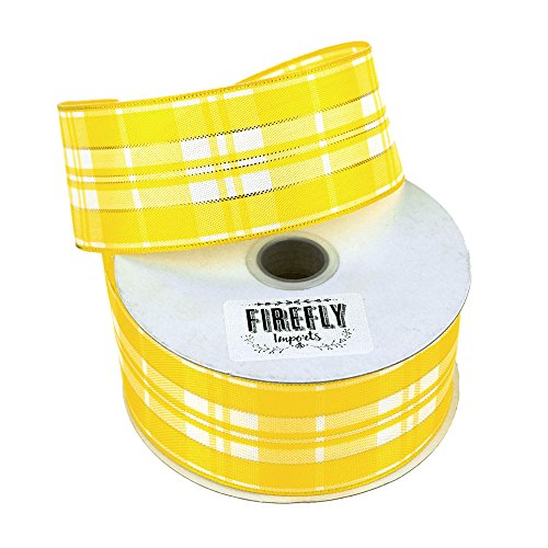 (Homeford Firefly Imports Plaid Checkered Wired Christmas Ribbon, 1-1/2-Inch, 10 Yards, Yellow, 1.5