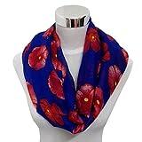 DDLBiz(TM) Spring&Autumn Ladies Red Poppy Flower Print Wrap Shawl Scarf (Dark Blue)