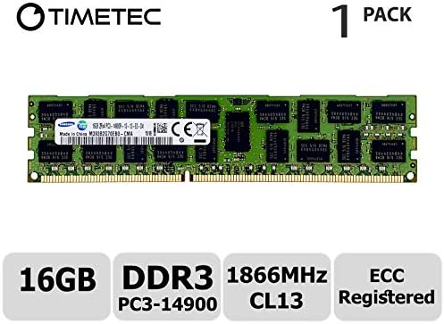 16GB Timetec SUPERMICRO 16GB DDR3 1866MHz PC3-14900 Registered ECC 1.5V CL13 2Rx4 Dual Rank 240 Pin RDIMM Server Memory RAM Module Upgrade