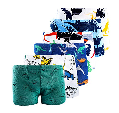 dodoin Kids Series Soft Comfortable Cotton Modal Toddler Boys' Assorted Boxer Briefs Dinosaur 2-9Y(4/5/6) (3T, Green Dino)