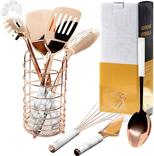 Copper Cooking Utensil Set Stainless Steel, 17pcs Cooking Utensils, Rose Gold Non-stick Heat Resistant Utensil Set comprises Measuring Cups and Spoons, Rose Gold Stylish Kitchen Accessories