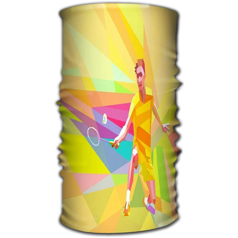 shenhaimojing Headbands Elastic Turban Head Wrap Stylish Hair Band Polygonal Badminton Player Yellow Low Poly Geometric Professional Orange Colorful Doing Forehand Shot Space