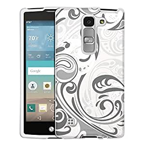 LG Escape2 Case, Snap On Cover by Trek Abstract Swirled Sades of Grey on White Case