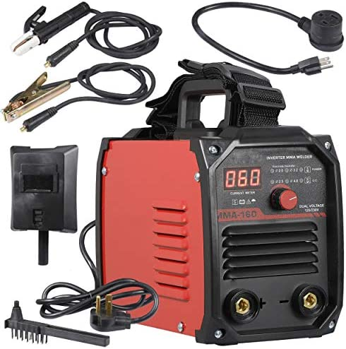 Welder 200A ARC Welder Machine IGBT Digital Display LCD Hot Start Welder with Electrode Holder,Work Clamp, Input Power Adapter Cable and Holder 110V 220V