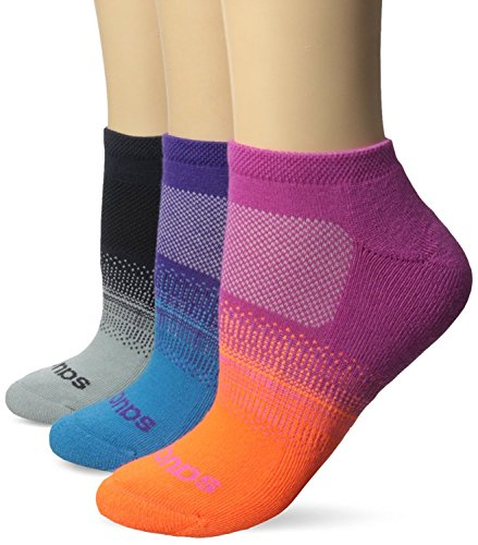 Saucony Women's 3 Pack Ombre Cushion No Show Athletic Sport Performance Socks, Pink Assorted, 9-11/Shoe Size 5-10 (Pack of - Cushion Show Socks