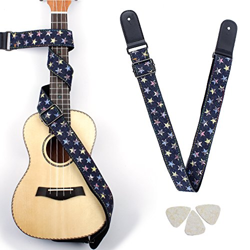 (Easeicon Hootenanny Style [Star in Night Sky] Adjustable Ukulele Strap [Extra Comfortable Design] UKE Belt + 3 Felt Picks - Ideal for Hawaiian Ukelele(Baritone Tenor Concert Soprano) - Black)