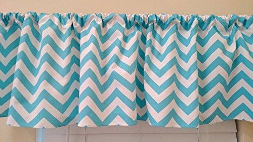 Aqua Turquoise Chevron Curtain valance, window treatments, Aqua Turqoise & white zig zag, stripes, kitchen, kids, nursery home decor ()