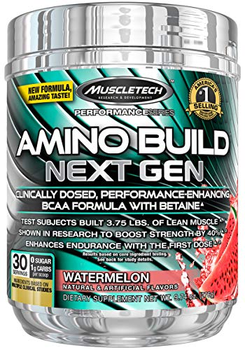 BCAA Amino Acids + Electrolyte Powder | MuscleTech Amino Build | 7g of BCAAs + Electrolytes | Support Muscle Recovery, Build Lean Muscle & Boost Endurance | Watermelon (30 Servings)