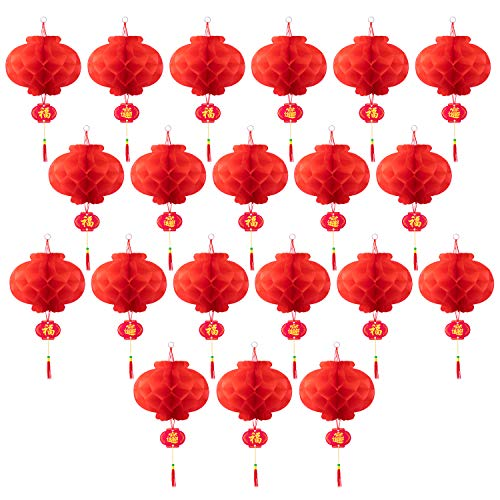 Chinese New Year Paper Decorations (Favourde 20 Pieces 10 Inch Chinese Red Paper Lanterns Festival Decorations for New Year, Spring Festival, Wedding and)