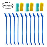 Ruri's Cat & Dog Toothbrush Set, 10 Dual Headed Toothbrush 6 Silicone Finger Toothbrush Small to Large Dogs, Cats, Most Pets