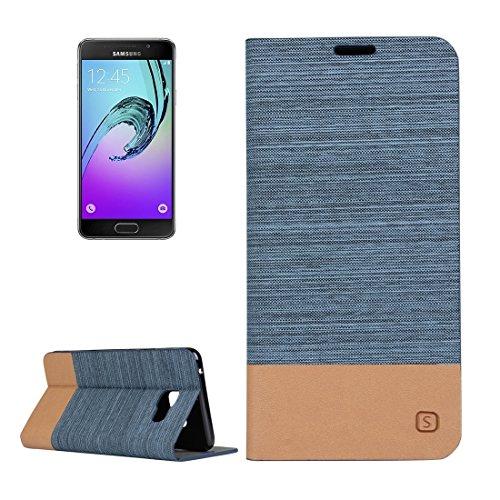 Fashion & personality Para la galaxia A5 (2016) / A510 de Samsung patrón de la lona PU + caja de cuero horizontal del tirón de TPU con el sostenedor y ranuras para tarjeta ( Color : Blue ) Blue