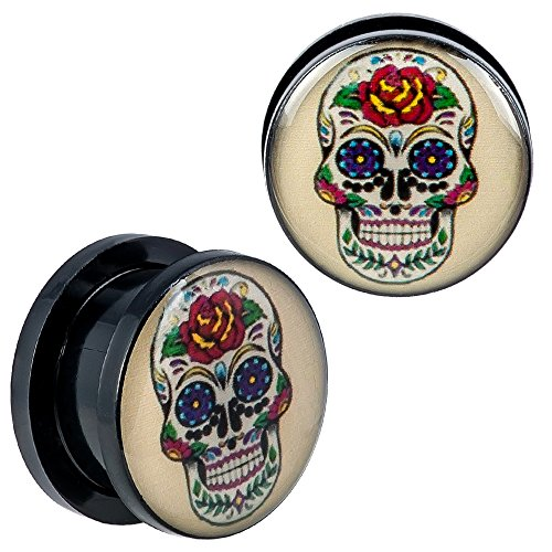 New Arrival - Screw Fit Black Acrylic Floral Sugar Skull Design Ear Plugs - 7/16