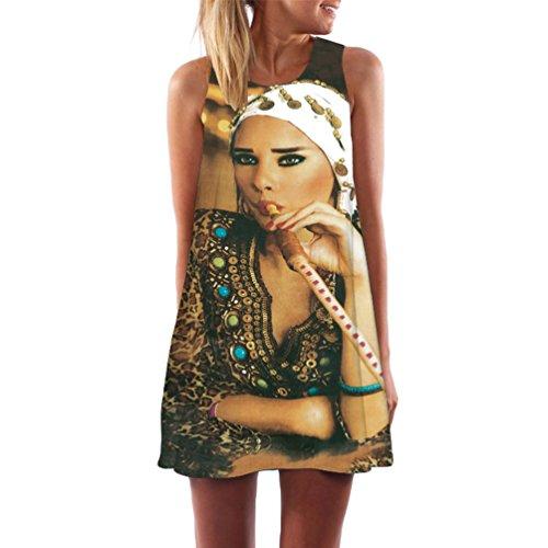 f8095a8cf6215 WanYang Damen Frauen Sommer Ärmellos Drucken Kleider Sommer Kleid Strand  Kleid Lose Mini Kleider(Weiß