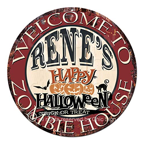 Welcome to The Rene'S Happy Halloween Zombie House Chic Tin Sign Rustic Shabby Vintage Style Retro Kitchen Bar Pub Coffee Shop Man cave Decor Gift -