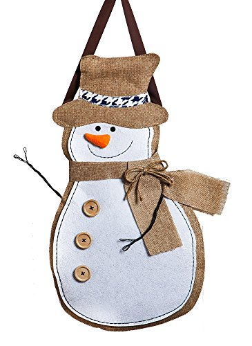 "- Evergreen Flag Winter Snowman Hanging Outdoor-Safe Burlap Door Décor - 13.75""W x 20.75""H"