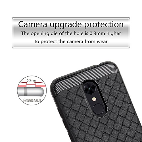 Durable patrón TPU suave caso trasero para Xiaomi Redmi 5 ( Color : Gray ) Black