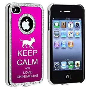 Apple iPhone 4 4S 4G Hot Pink S1694 Rhinestone Crystal Bling Aluminum Plated Hard Case Cover Keep Calm and Love Chihuahuas