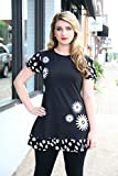 Artsy Womens Clothing Black White Daisy Hand Printed Puff Sleeve Ruffled A-Line Jersey Tunic Size Large
