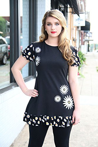 Artsy Womens Clothing Black White Daisy Hand Printed Puff Sleeve Ruffled A-Line Jersey Tunic Size Large by Francoise Lama-Solet