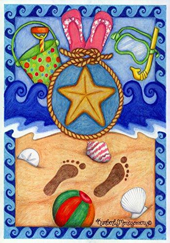 Starfish Medley - Toland Home Garden Beach Medley 28 x 40 Inch Decorative Summer Sand Flip Flop Bucket Starfish House Flag