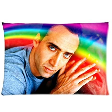 Nicolas Cage Rainbow Pillowcase/Fundas para almohada 20x30 Inch