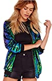 Hip Hop Dancing Style Zipper Front Shiny Sequin Sequined Sparkly Sparkle Glitter Baseball Bomber Aviator Flight Jacket Top Green XL