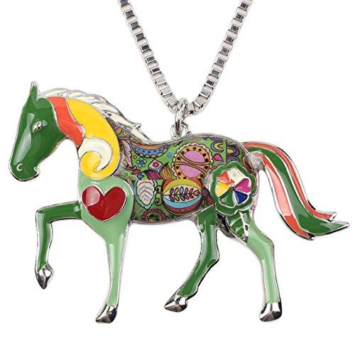 Love Horses Pendant - BONSNY Love Heart Enamel Zinc Alloy Metal Horse Necklace Animal Pendant Gift 18 Inches (Green)