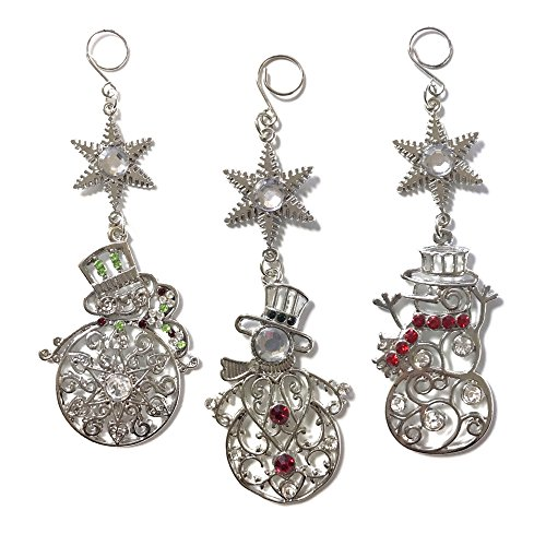 Snowman Ornaments - Set of 3 Silver Filigree Snowman Ornaments - Each One is a Different Designs - Snowman Decorations - Snowman Collections (Snowmen Ornament Set)