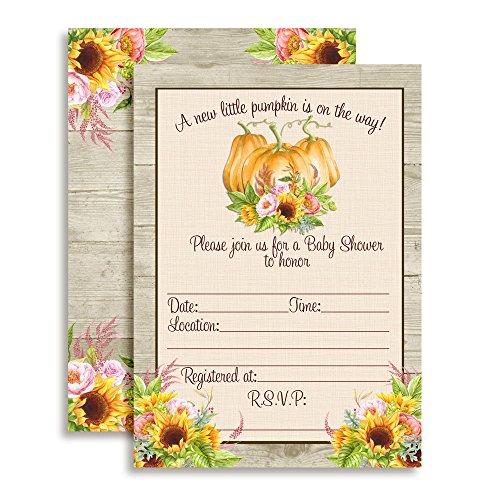 Watercolor Sunflower & Peony Floral with Pumpkins Fall Baby Shower Invitations, 20 5