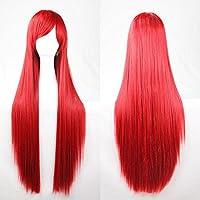 New 80cm Straight Sleek Long Full Hair Wigs w Side Bangs Cosplay Costume Womens, Red