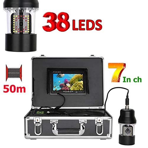 MBEN Underwater Fishing Camera, 7-inch PTZ, 360-degree Rotating Underwater Monitoring System, 38 LEDs, 50M Waterproof Cable