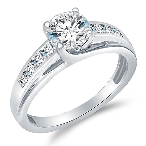 Size - 7 - Solid 925 Sterling Silver Solitaire Round CZ Cubic Zirconia Engagement Ring 1.5ct