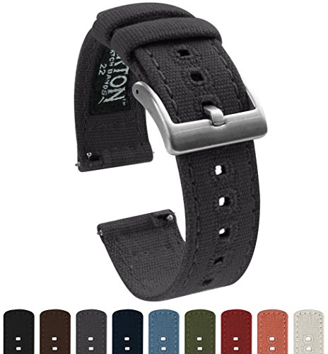 BARTON Canvas Quick Release Watch Band Straps - Choose Color & Width - 18mm, 20mm, 22mm - Smoke Grey 20mm