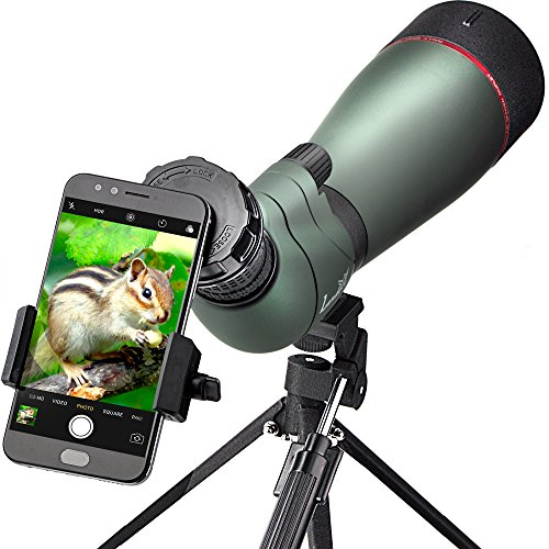 landove 20-60X 80 Prism Spotting Scope- Waterproof Scope for Birdwatching Target Shooting Archery Outdoor Activities -with Tripod & Digiscoping Adapter-Get the Beauty into Screen