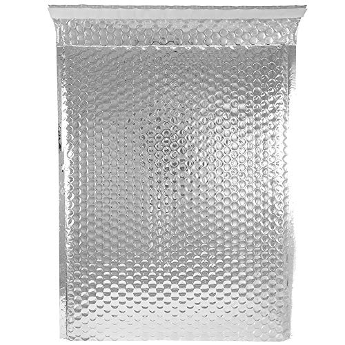 JAM PAPER Bubble Padded Mailers with Self-Adhesive Closure - 9 x 12 - Silver Metallic - 12/Pack