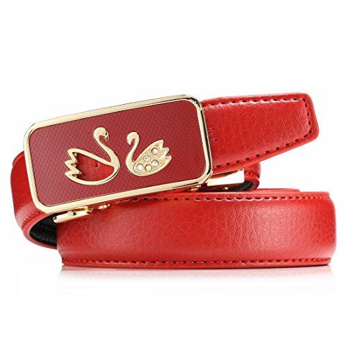 [Women's Sliding Skin Buckle Belts Design with Automatic Ratchet Leather Belt Red For ANDY GRADE] (Design Belt Buckle)
