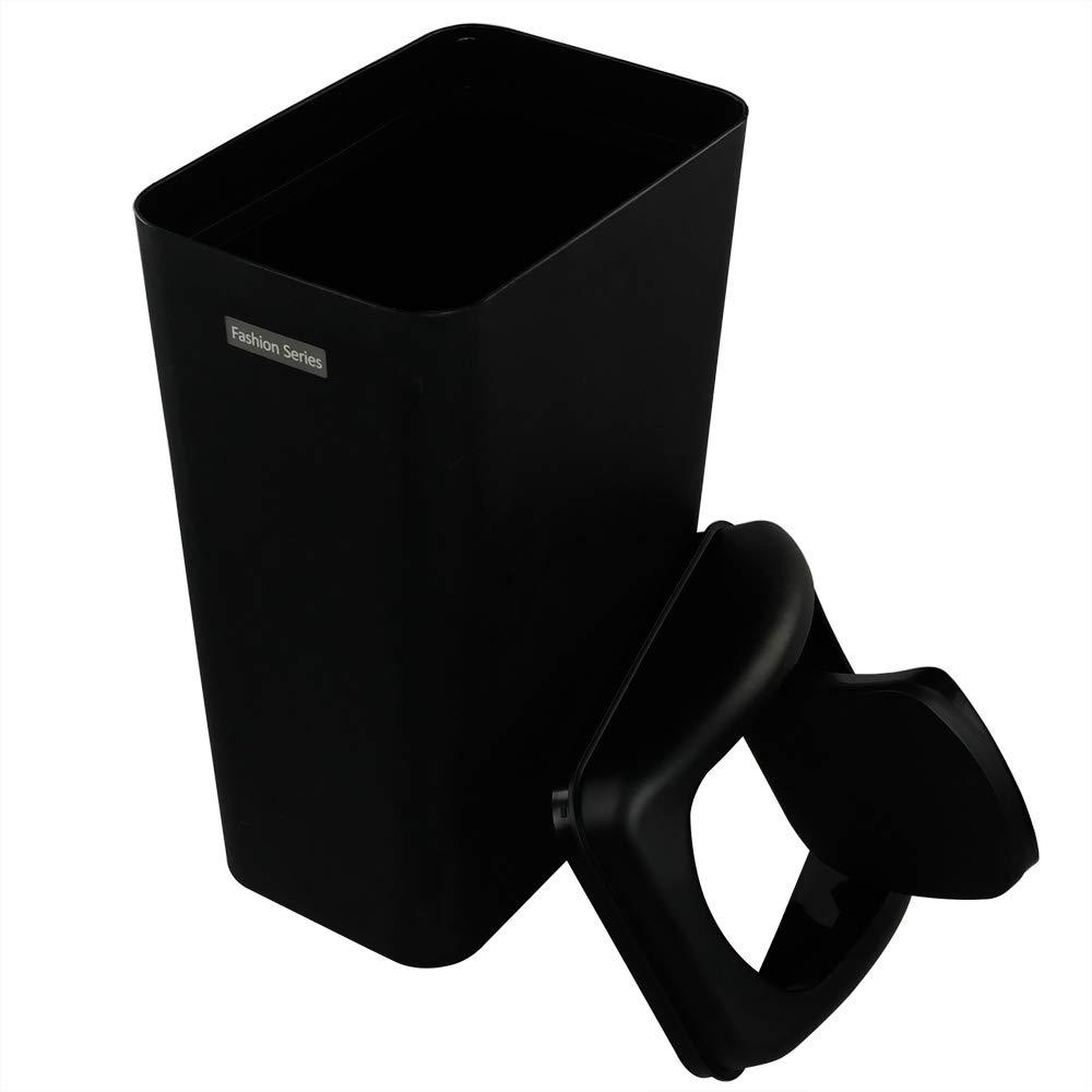Color Negro 1 Paquete Qshape 10 L Cubo de Basura Basurero Papelera de Pl/ástico de Ba/ño Cocina Con Tapa Basculante