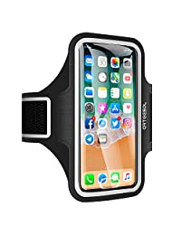 iPhone X Armband, ARTEESOL Sweat Proof Cell Phone Holder 5.2 Inch with Fingerprint Touch for iPhone X/8/7/6/5, Galaxy S7/S6/S4, Note 4, LG, Moto, Phone Pouch for Running Workout (Black)