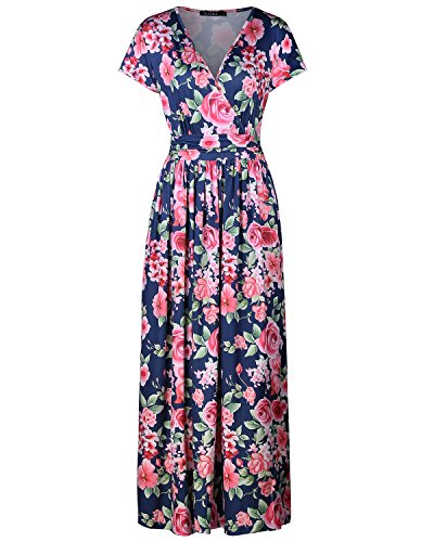 OUGES Women's V-Neck Pattern Pocket Maxi Long Dress(Floral-04,M)