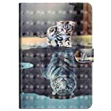 Cover for Amazon Fire 7 Tablet (7th Generation, 2017 Release), MoreChioce 3D Fashion Cat & Tiger Pattern Soft PU Leather Stand Magnetic Flip Case Closure Foldable Case for Amazon Kindle Fire 7 2017
