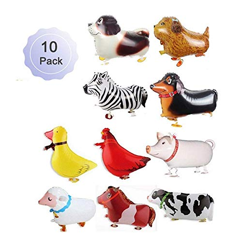 (Borang 10 Pieces Walking Animal Balloons Farm Animal Balloon Birthday Party BBQ Party Décor(Pony,Duck,Rooster,Cow,Pig,Sheep,Zebra,Saint Bernard Dog,Dachshund,Furry dog))