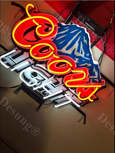 Desung 24''x20'' Coors Light Mountain Neon Sign Light HD Vivid Printing Technology Man Cave Beer Bar Pub Handmade Real Glass Tube Lamp NT02 by Desung (Image #3)