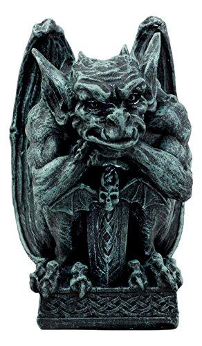 Ebros Stoic Warrior Notre Dame Gargoyle Holding Gothic Bat Sword Figurine Collectible 6.5