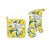lemon oven mitt - Michel Design Works Bundle - 2 Items: Lemon Oven Mitt and Lemon Pot Holder